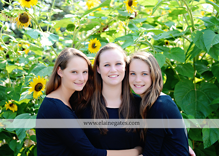 central pa senior portrait photographer road trees girls sisters friends sunflowers grass wildflowers tree water stream creek volleyball formal mc 2