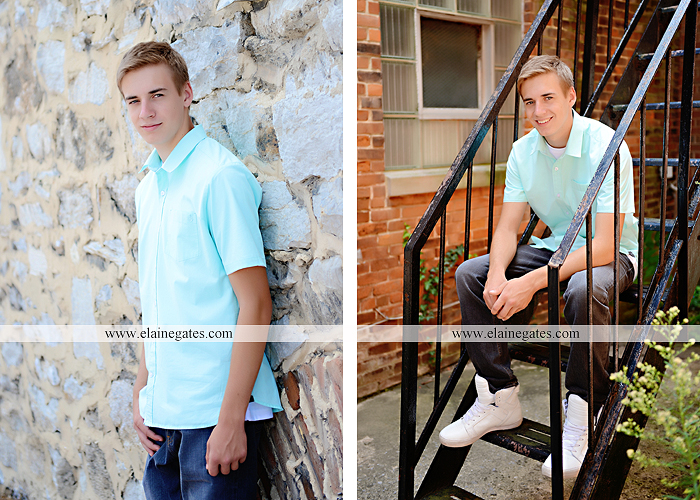 central pa senior portrait photographer trees woods brick stone wall urban stairs gate formal pa 3
