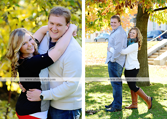 Mechanicsburg Central PA portrait photographer engagement couple hug embrace kiss Boiling Springs lake trees water ducks geese fall na 2