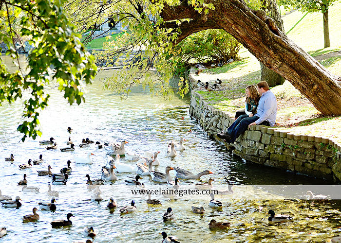 Mechanicsburg Central PA portrait photographer engagement couple hug embrace kiss Boiling Springs lake trees water ducks geese fall na 3
