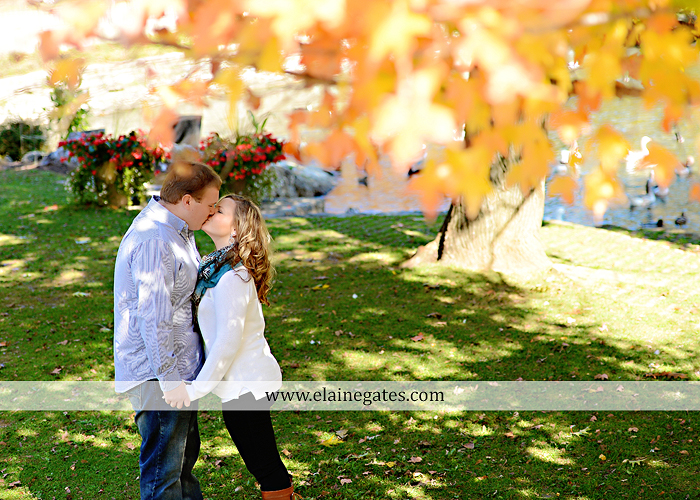 Mechanicsburg Central PA portrait photographer engagement couple hug embrace kiss Boiling Springs lake trees water ducks geese fall na 5
