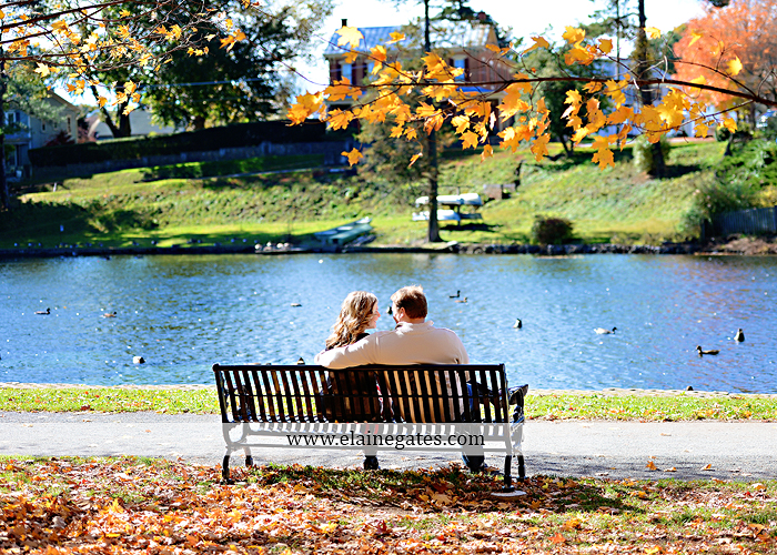 Mechanicsburg Central PA portrait photographer engagement couple hug embrace kiss Boiling Springs lake trees water ducks geese fall na 9