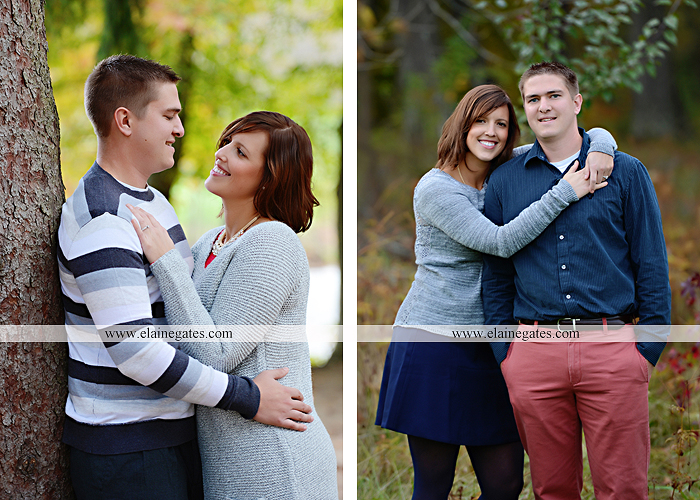 Mechanicsburg Central PA portrait photographer engagement couple ring field trees hug embrace kiss covered bridge water stream creek leaves fall sc 2