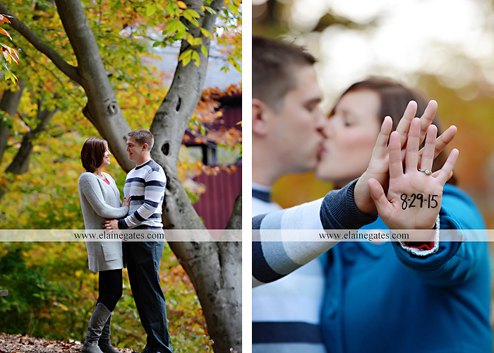 Mechanicsburg Central PA portrait photographer engagement couple ring field trees hug embrace kiss covered bridge water stream creek leaves fall sc 6