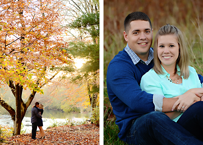 Mechanicsburg Central PA portrait photographer engagement outdoor fall leaves trees couple hug embrace kiss dog covered bridge holding hands field date rocks mpck 8