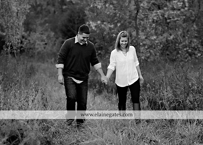 Mechanicsburg Central PA portrait photographer engagement outdoor fall leaves trees couple hug embrace kiss dog covered bridge holding hands field date rocks mpck 9