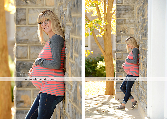 Mechanicsburg Central PA portrait photographer maternity steps ivy tree leaves brick wall road stone building dog home doorway Dickinson College mu 5