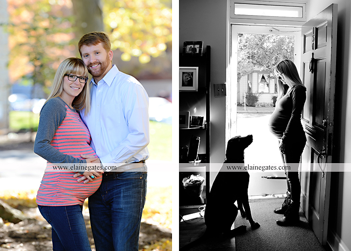 Mechanicsburg Central PA portrait photographer maternity steps ivy tree leaves brick wall road stone building dog home doorway Dickinson College mu 7