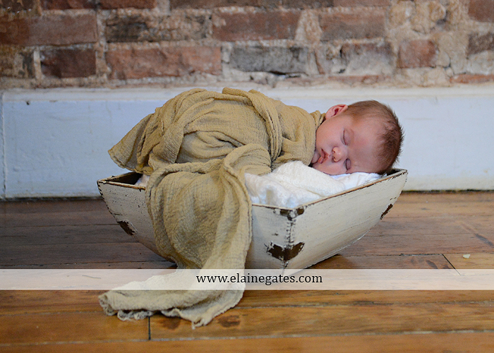 Mechanicsburg Central PA newborn portrait photographer baby newborn sleeping blanket basket hardwood floor brick wall dog mother father bed hold hat mu 3