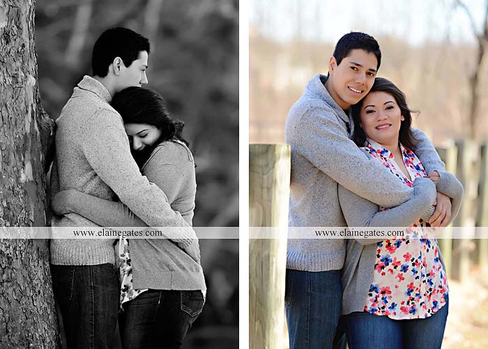 Mechanicsburg Central PA portrait photographer engagement outdoor trees woods field covered bridge messiah college hug fence ma 5