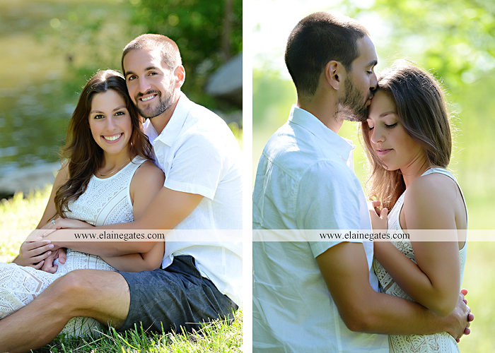 Mechanicsburg Central PA portrait photographer engagement trees fence road grass field kiss hug water stream creek holding hands mb 10