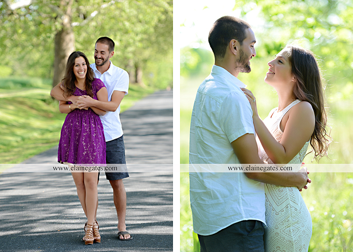 Mechanicsburg Central PA portrait photographer engagement trees fence road grass field kiss hug water stream creek holding hands mb 11