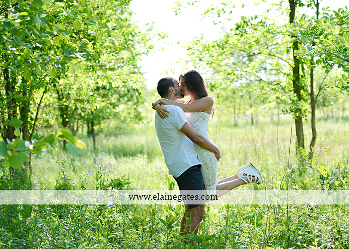 Mechanicsburg Central PA portrait photographer engagement trees fence road grass field kiss hug water stream creek holding hands mb 12