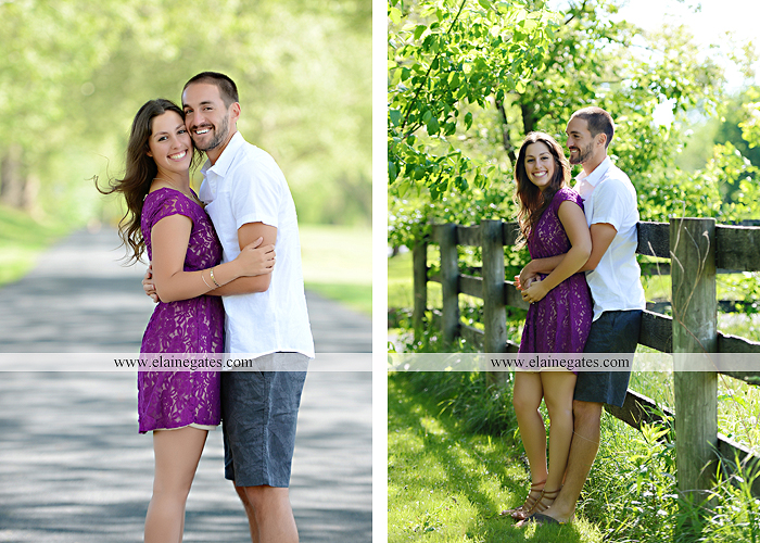 Mechanicsburg Central PA portrait photographer engagement trees fence road grass field kiss hug water stream creek holding hands mb 2