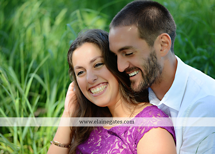 Mechanicsburg Central PA portrait photographer engagement trees fence road grass field kiss hug water stream creek holding hands mb 3
