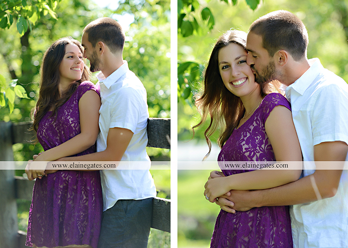 Mechanicsburg Central PA portrait photographer engagement trees fence road grass field kiss hug water stream creek holding hands mb 6