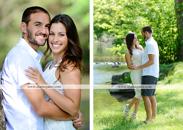 Mechanicsburg Central PA portrait photographer engagement trees fence road grass field kiss hug water stream creek holding hands mb 8