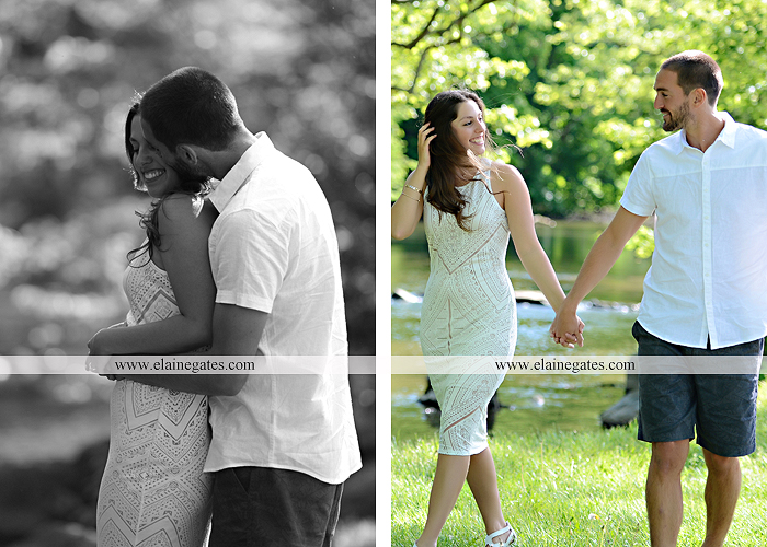 Mechanicsburg Central PA portrait photographer engagement trees fence road grass field kiss hug water stream creek holding hands mb 9