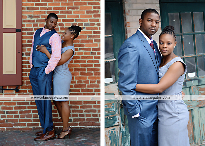 Mechanicsburg Central PA portrait photographer engagement vintage train station brick wall sidewalk city urban window bench luggage suitcase bags railroad tracks vp 2