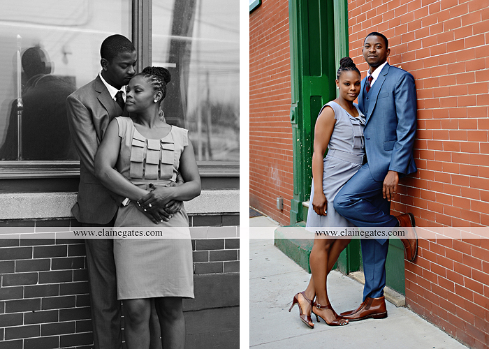 Mechanicsburg Central PA portrait photographer engagement vintage train station brick wall sidewalk city urban window bench luggage suitcase bags railroad tracks vp 4