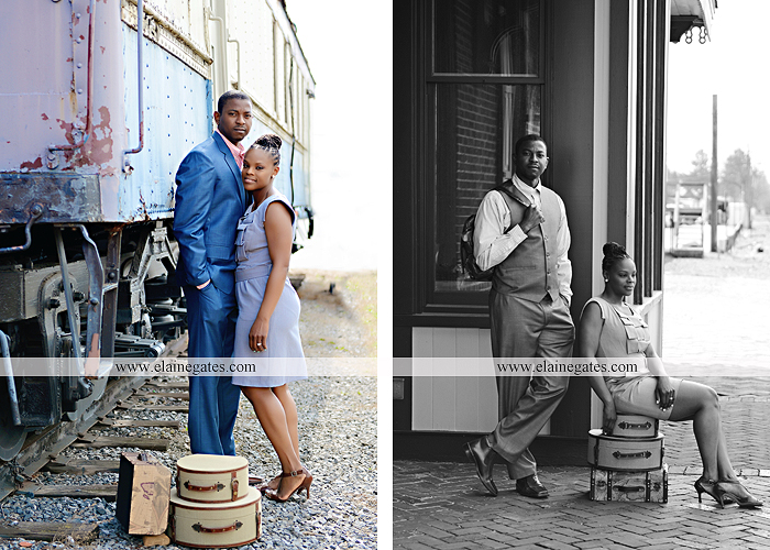 Mechanicsburg Central PA portrait photographer engagement vintage train station brick wall sidewalk city urban window bench luggage suitcase bags railroad tracks vp 6
