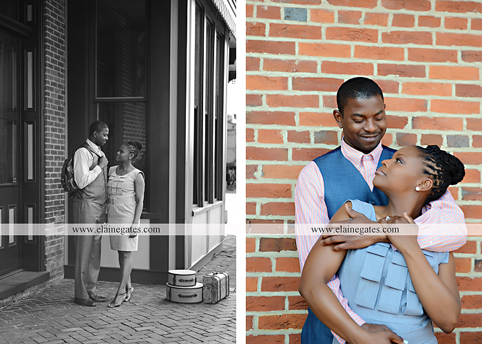Mechanicsburg Central PA portrait photographer engagement vintage train station brick wall sidewalk city urban window bench luggage suitcase bags railroad tracks vp 7
