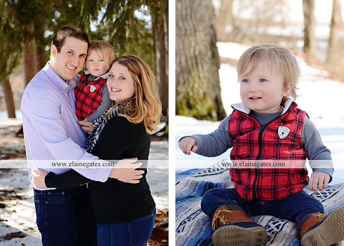 Mechanicsburg Central PA portrait photographer family covered bridge messiah college parents mother father son boy snow trees kiss jk 5