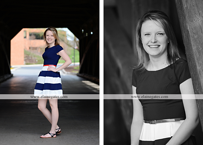 Mechanicsburg Central PA senior portrait photographer outdoor graduate messiah college covered bridge steps brick trees water creek stream km 3