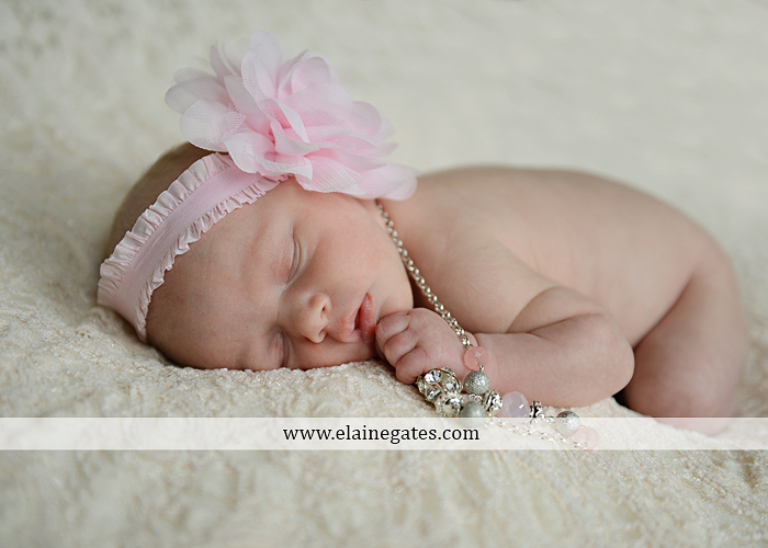 Mechanicsburg Central PA newborn portrait photographer baby girl father dad mother mom parents blanket sleeping bow headband bowl necklace lc 08