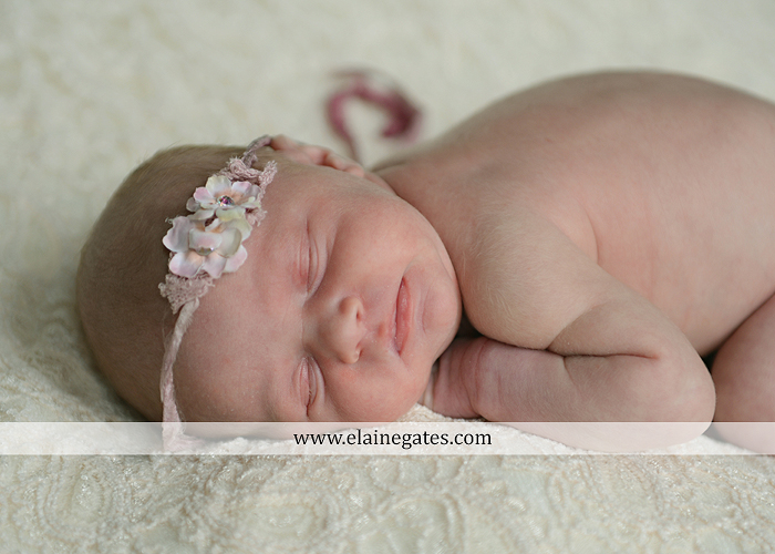 Mechanicsburg Central PA newborn portrait photographer baby girl father dad mother mom parents blanket sleeping bow headband bowl necklace lc 09