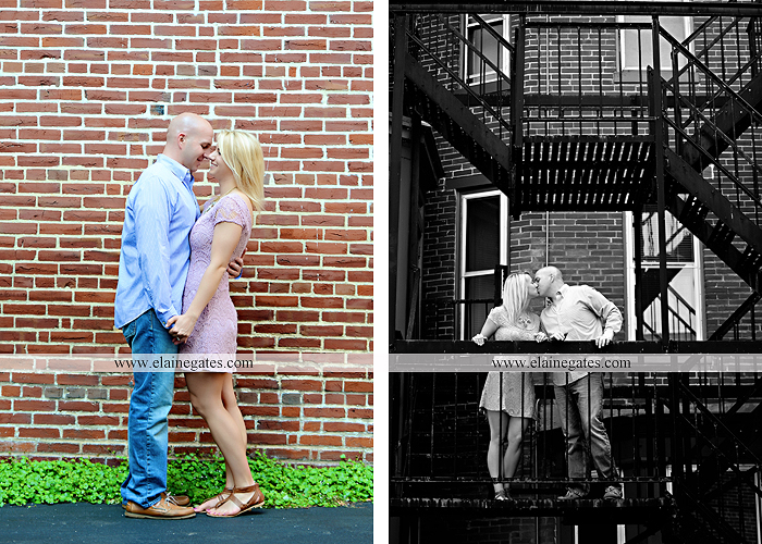 Mechanicsburg Central PA portrait photographer engagement outdoor Harrisburg bridge river water steps chalk date brick wall urban fire escape stairs as 03