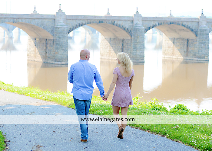 Mechanicsburg Central PA portrait photographer engagement outdoor Harrisburg bridge river water steps chalk date brick wall urban fire escape stairs as 05
