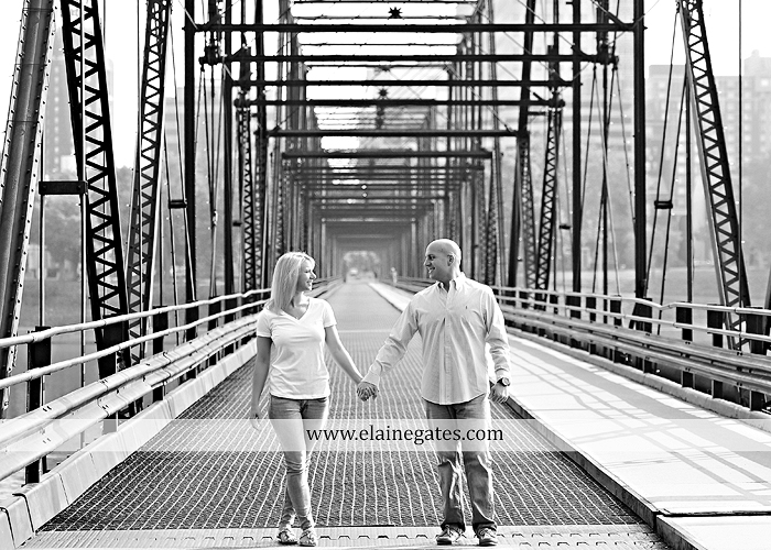 Mechanicsburg Central PA portrait photographer engagement outdoor Harrisburg bridge river water steps chalk date brick wall urban fire escape stairs as 07