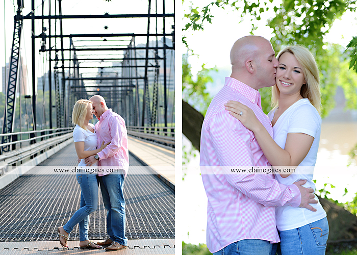 Mechanicsburg Central PA portrait photographer engagement outdoor Harrisburg bridge river water steps chalk date brick wall urban fire escape stairs as 09
