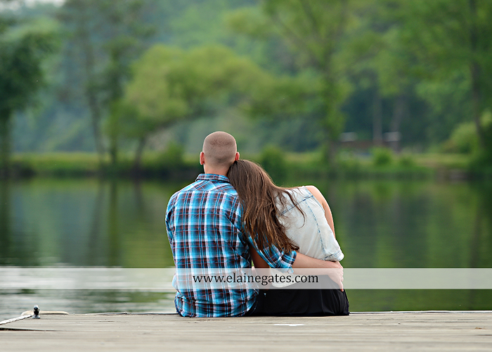 Mechanicsburg Central PA portrait photographer engagement outdoor couple water trees grass field dock water lake fishing lure boat holding hands picnic basket kiss path ph 04