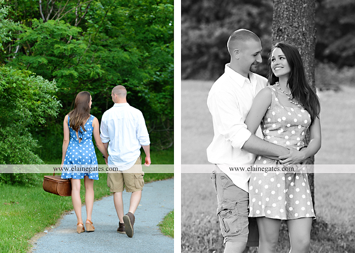 Mechanicsburg Central PA portrait photographer engagement outdoor couple water trees grass field dock water lake fishing lure boat holding hands picnic basket kiss path ph 18