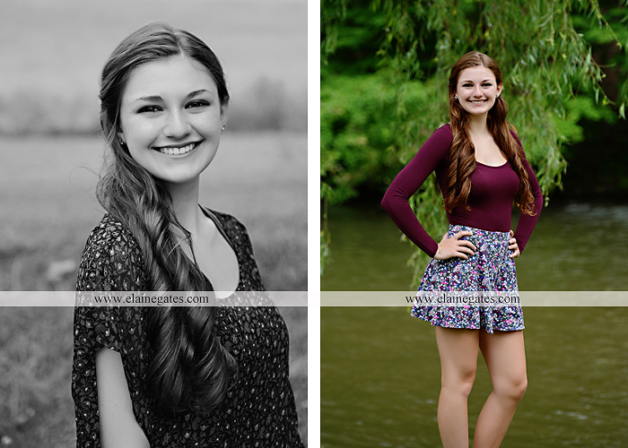 Mechanicsburg Central PA senior portrait photographer outdoor girl female water stream creek trees road grass wildflowers black eyed susans field hammock wooden swing sidewalk brick stone wall js 02