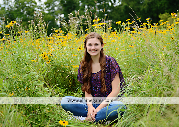 Mechanicsburg Central PA senior portrait photographer outdoor girl female water stream creek trees road grass wildflowers black eyed susans field hammock wooden swing sidewalk brick stone wall js 04