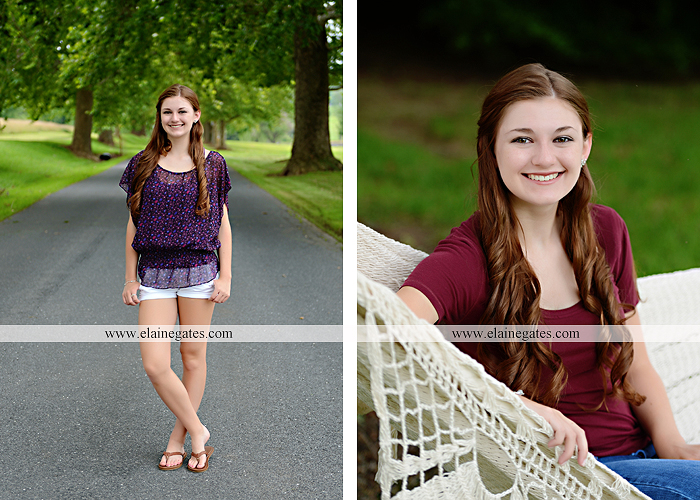 Mechanicsburg Central PA senior portrait photographer outdoor girl female water stream creek trees road grass wildflowers black eyed susans field hammock wooden swing sidewalk brick stone wall js 06