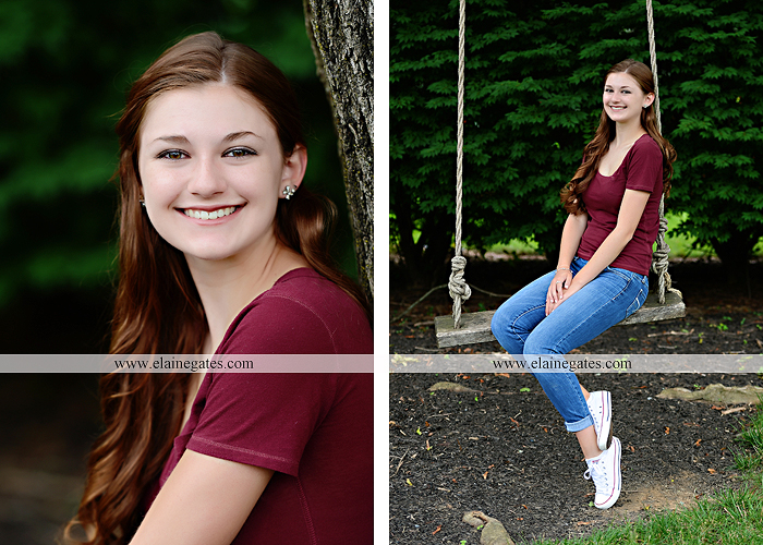 Mechanicsburg Central PA senior portrait photographer outdoor girl female water stream creek trees road grass wildflowers black eyed susans field hammock wooden swing sidewalk brick stone wall js 07