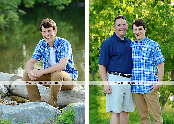 Mechanicsburg Central PA senior portrait photographer outdoor guy male mother mom father dad covered bridge trees grass water stream creek logs rocks dog rail jm 03
