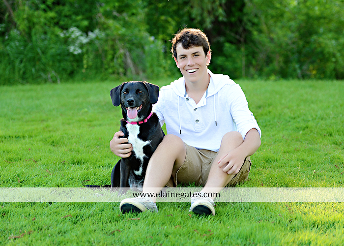 Mechanicsburg Central PA senior portrait photographer outdoor guy male mother mom father dad covered bridge trees grass water stream creek logs rocks dog rail jm 05