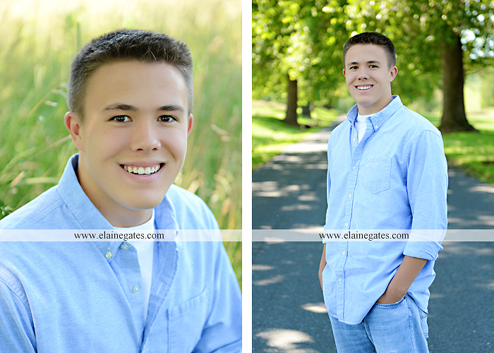 Mechanicsburg Central PA senior portrait photographer outdoor guy male trees grass water creek stream road field formal jh 05