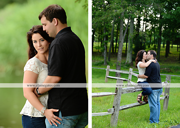 Mechanicsburg Central PA engagement portrait photographer outdoor fence trees field road path barn door ivy wildflowers kiss 02