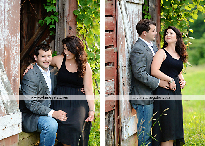 Mechanicsburg Central PA engagement portrait photographer outdoor fence trees field road path barn door ivy wildflowers kiss 06