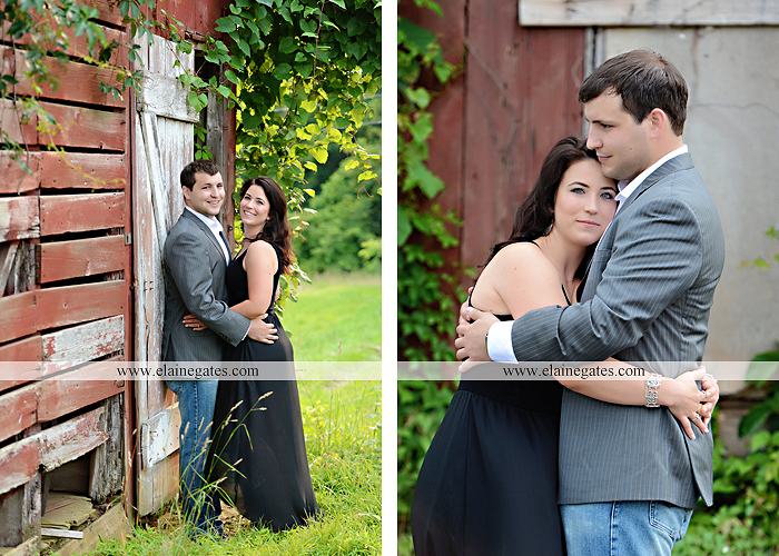 Mechanicsburg Central PA engagement portrait photographer outdoor fence trees field road path barn door ivy wildflowers kiss 07