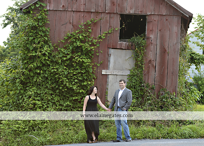 Mechanicsburg Central PA engagement portrait photographer outdoor fence trees field road path barn door ivy wildflowers kiss 08