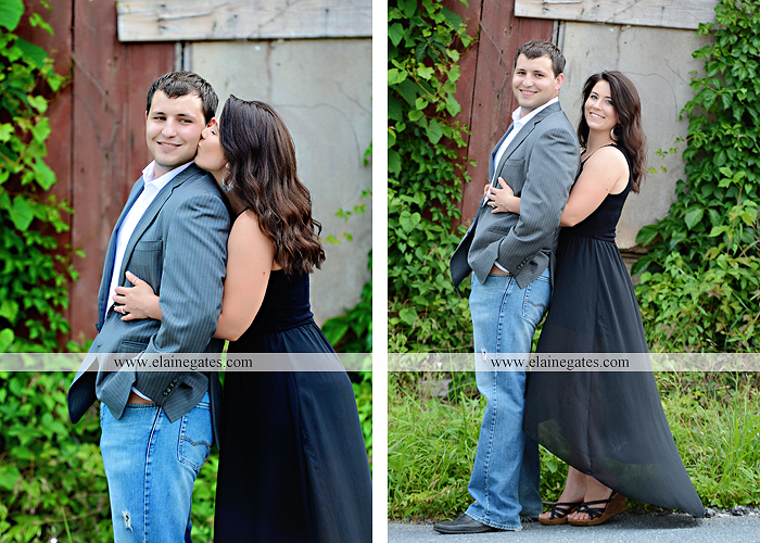 Mechanicsburg Central PA engagement portrait photographer outdoor fence trees field road path barn door ivy wildflowers kiss 09
