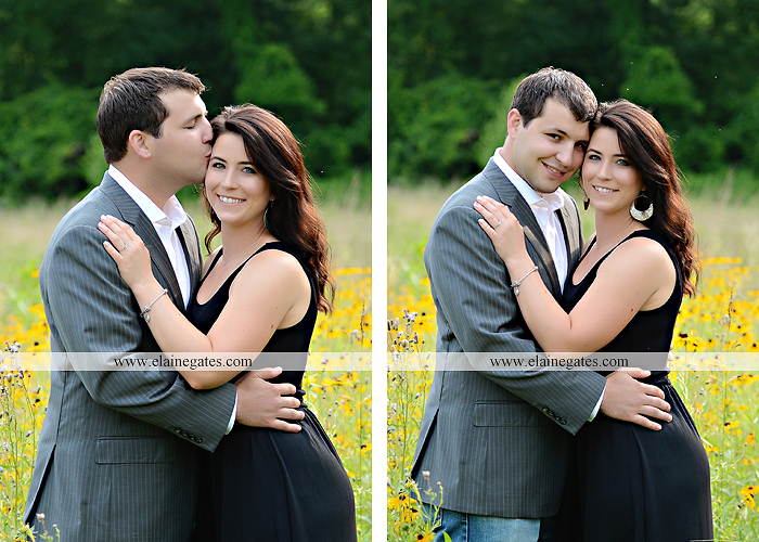Mechanicsburg Central PA engagement portrait photographer outdoor fence trees field road path barn door ivy wildflowers kiss 14