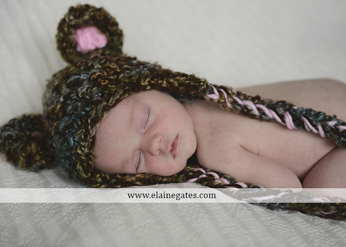 Mechanicsburg Central PA newborn baby portrait photographer girl knit hat bow feathers wings pink blanket mother father field basket sleeping indoor outdoor mr 01